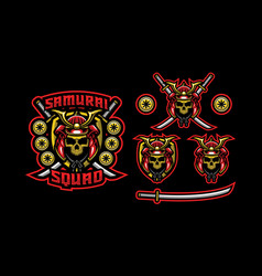 samurai mascot logo design vector image