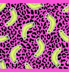 seamless leopard banana pattern vector image
