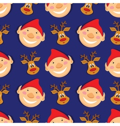 Seamless pattern with elves and deer on blue vector