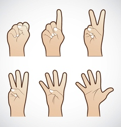 set counting hand sign vector image