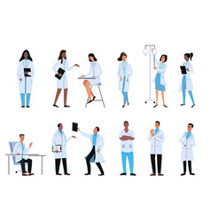 set doctors characters health workers vector image