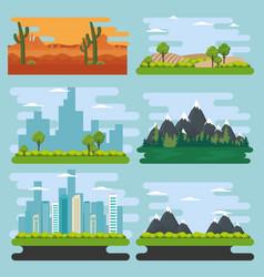set natural landscape scenes vector image