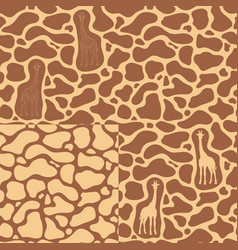 set seamless patterns with a giraffe vector image