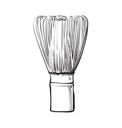 side view drawing of wooden whisk for matcha tea vector image