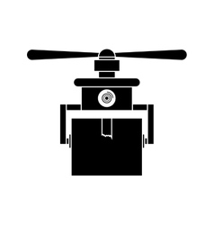 silhouette drone carrying box with one airscrew vector image