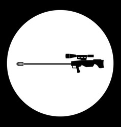 Sniper rifle simple silhouette black icon eps10 vector