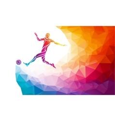 soccer player footballer kicks ball in trendy vector image
