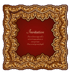 square gold frame with ornate border ornament vector image
