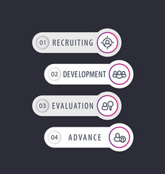 Staff hr employee 1 2 3 4 steps infographics vector