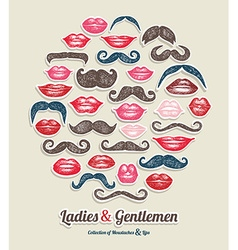 Stickers collection of moustaches and lips vector image
