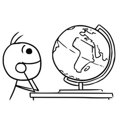Stickman cartoon of men watching the globe vector