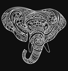 Stylized head of an elephant ornamental portrait vector