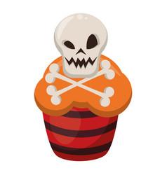Sweet cupcake with halloween skull head vector