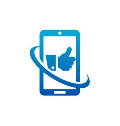 Swoosh like hand smart phone logo icon vector