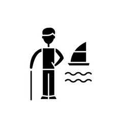 vacation planning black icon sign on vector image