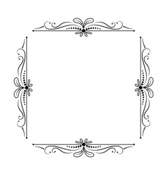 vintage elegant square frame with leaves vector image