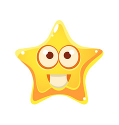 yellow star with smiling face and big eyes vector image