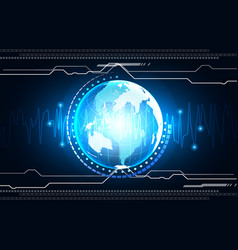 abstract digital globe technology background vector image vector image