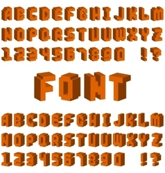 Isometric alphabet font 3D letters for web mobile vector image