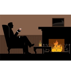 Man with a glass in her hand sitting in the chair vector image vector image