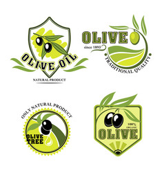 olive oil product icons set vector image vector image
