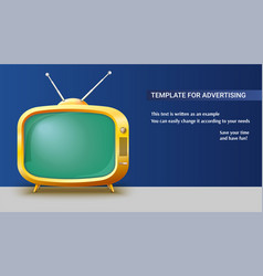 poster template with retro yellow tv set for vector image vector image