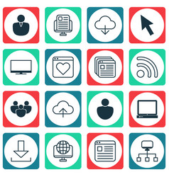 set of 16 web icons includes followed website vector image vector image