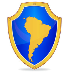 shield with silhouette of south america vector image vector image