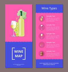 wine types map template set vector image