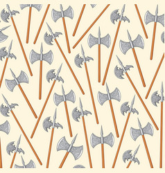 background pattern with medieval double edged axes vector image