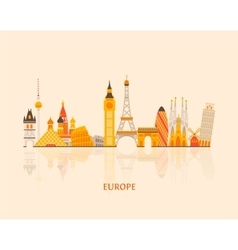 Europe skyline silhouette vector image vector image