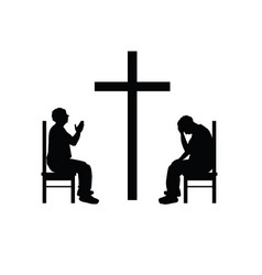 man silhouette set prays front of cross vector image