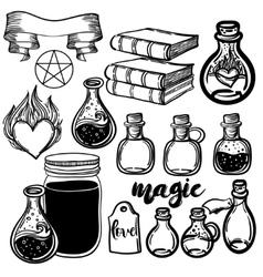 set of glass flasks Magic potions set of vector image