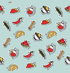 colored indian food concept pattern vector image vector image