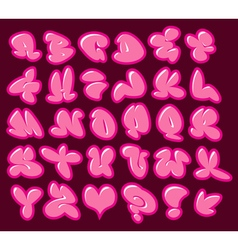 graffiti bubble gum pink fonts with gloss and colo vector image
