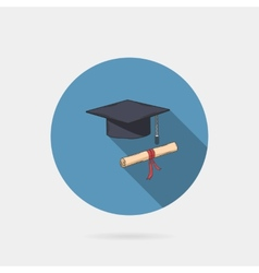 icon of mortarboard or graduation cap and diploma vector image