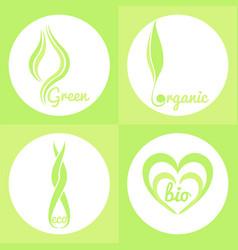 organic green signs vector image vector image