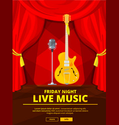 poster invitation at live music concert vector image vector image