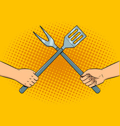 battle on kitchen utensils pop art vector image