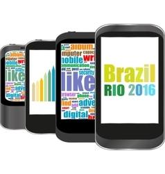 Brazil Rio 2016 Summer Games smart phone vector image vector image