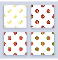 Flat design fruit seamless pattern set icons line vector image vector image