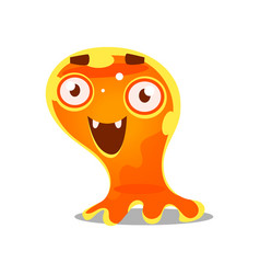 Funny cartoon friendly slimy monster cute bright vector