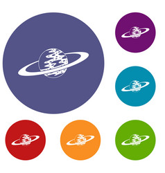 saturn icons set vector image vector image