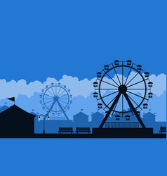 silhouette of amusement park scenery background vector image vector image