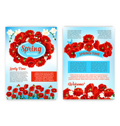 spring holidays brochure template with flowers vector image vector image