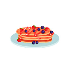 stack of pancakes with blueberry and strawberry vector image