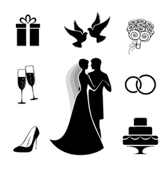 Wedding icon collection isolated on white vector image