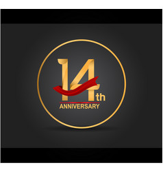 14 anniversary design golden color with ring vector