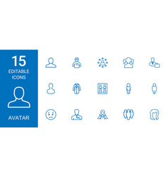 15 avatar icons vector image