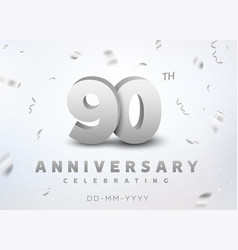 90 years silver number anniversary celebration vector image